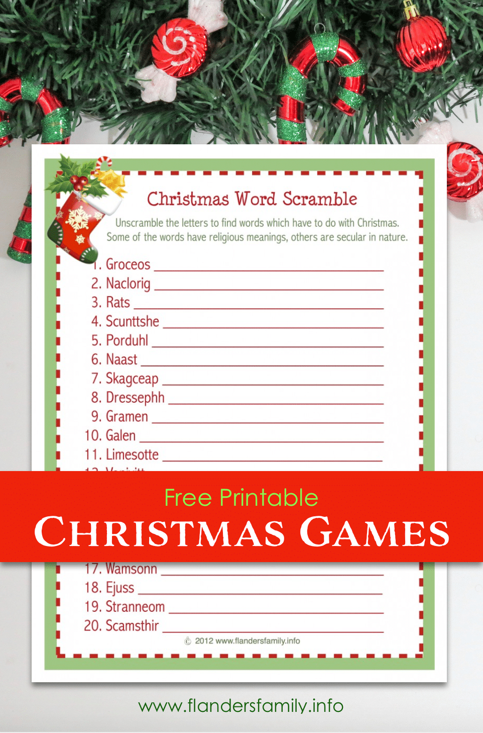 Christmas Word Scramble (Free Printable) - Flanders Family Homelife - Free Printable Christmas Word Games