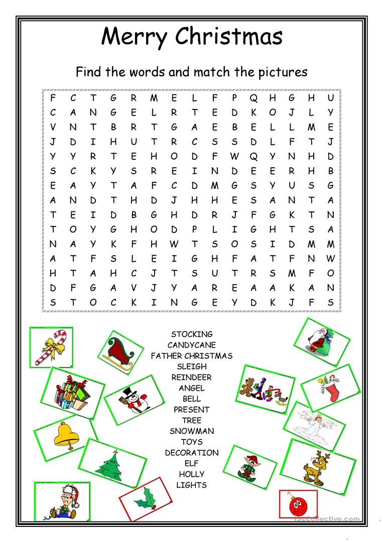 Christmas Wordsearch Worksheet - Free Esl Printable Worksheets Made - Free Printable Christmas Puzzles Word Searches