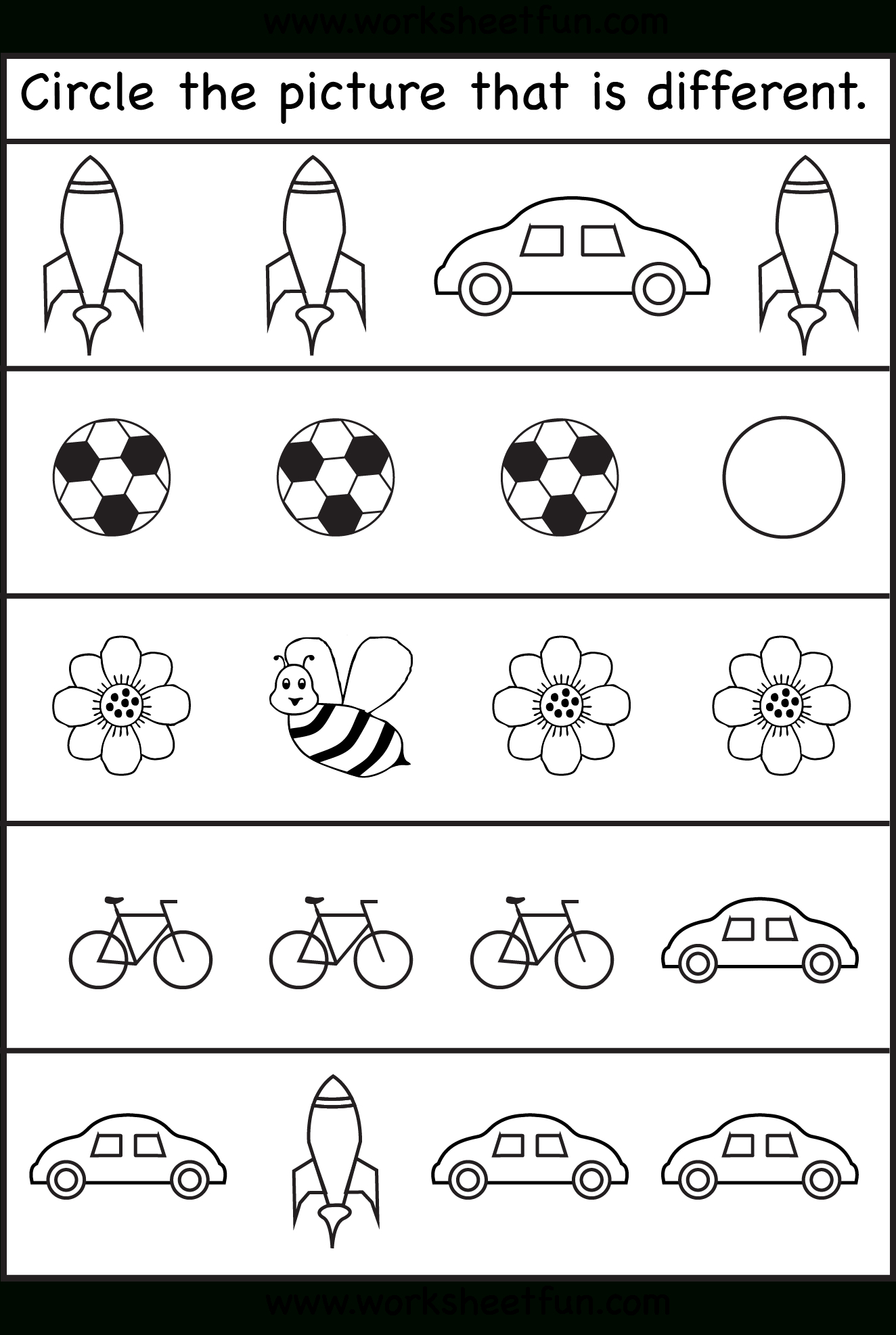 Circle The Picture That Is Different - 4 Worksheets | Preschool Work - Free Printable Early Childhood Activities