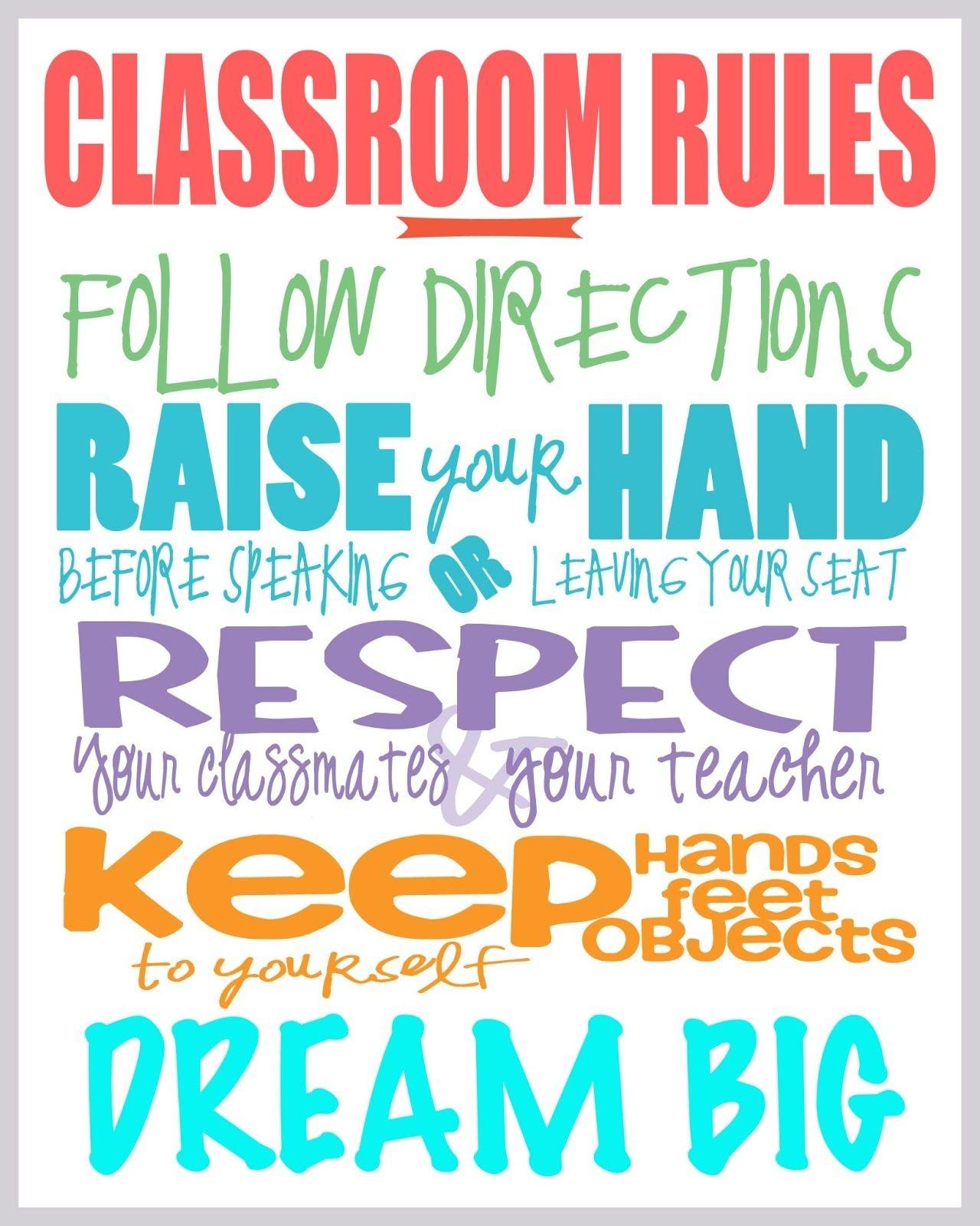Class Rules Free Printable | Printables | Classroom Rules, Classroom - Free Printable Educational Posters