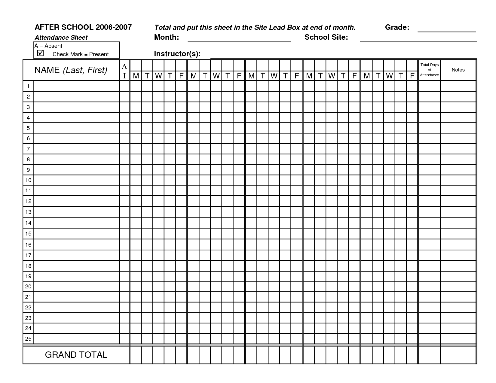 Classroom Attendance Sheets   Class Attendance Sheets - Excel - Free Printable Attendance Forms For Teachers