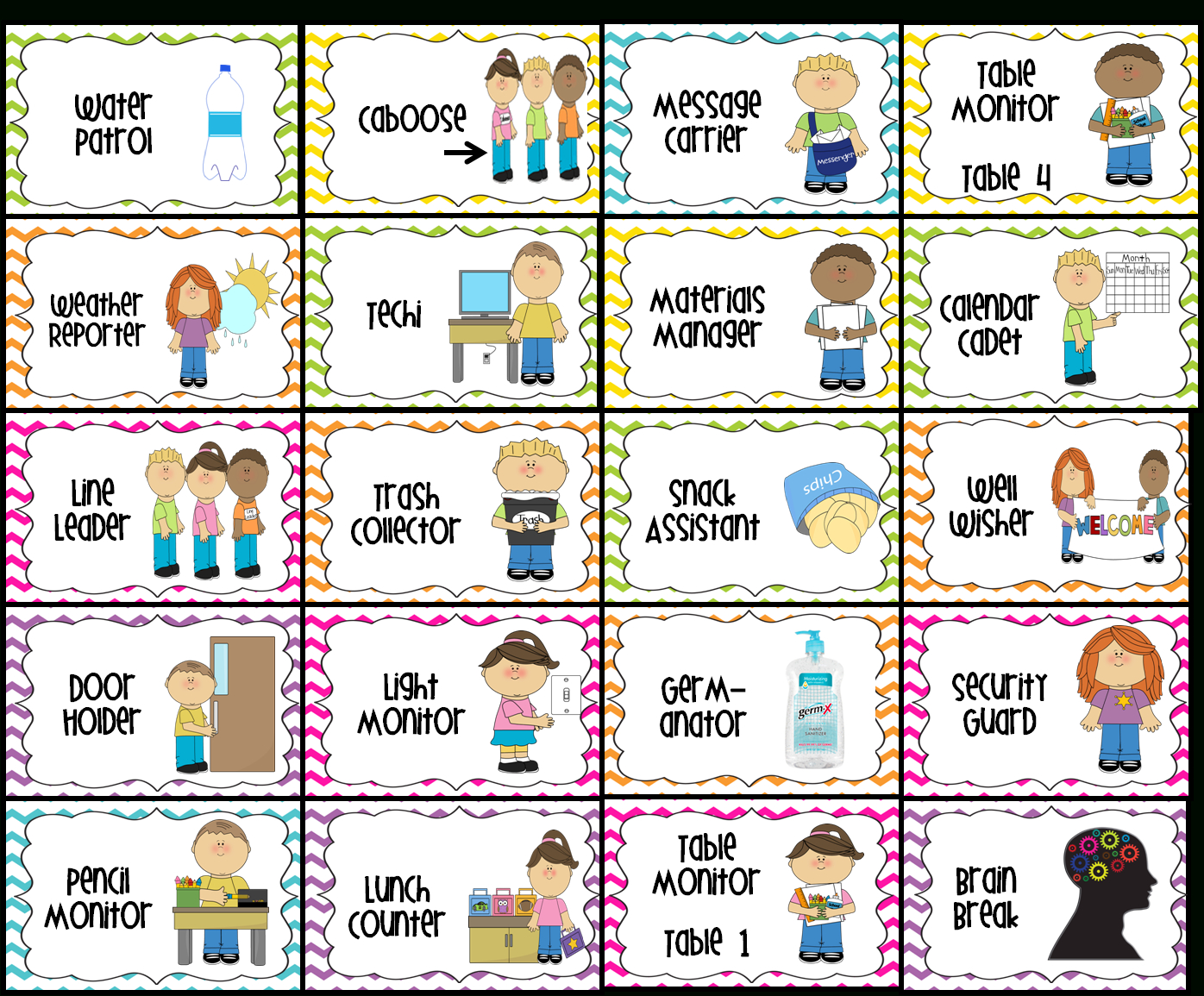 Classroom Jobs- I Have Loved Using These This Year! | Class - Free Printable Classroom Helper Signs