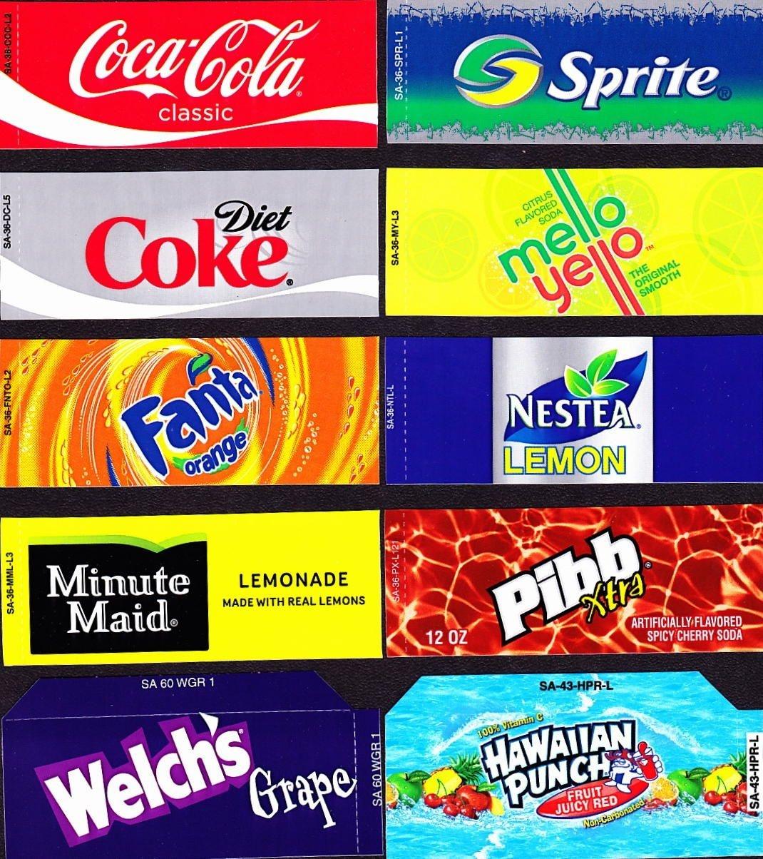 Coke Machine Labels | 10 Coke Mixed Set Small Flavor Labels Soda - Free Printable Pop Machine Labels