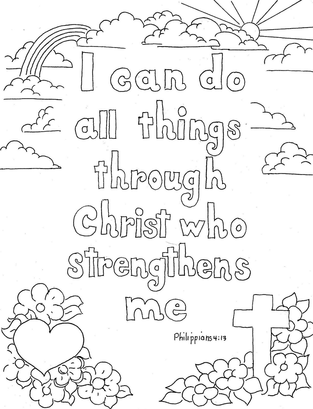 Coloring Pages For Kidsmr. Adron: Philippians 4:13 Print And - Free Printable Bible Story Coloring Pages