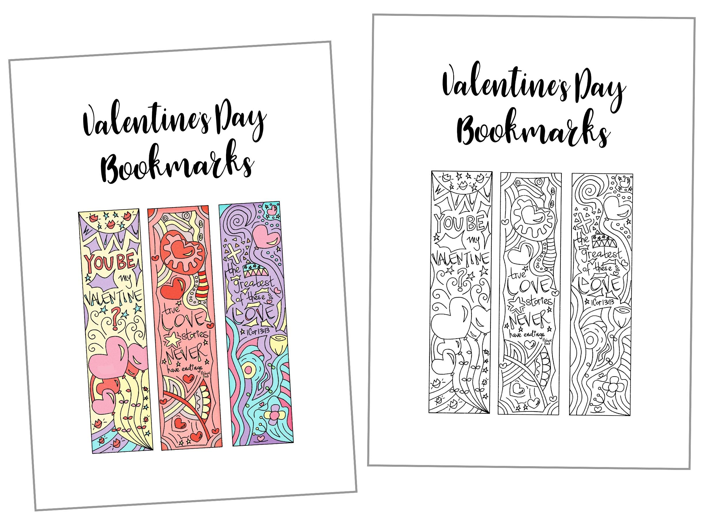 Coloring Valentine's Day Bookmarks Free Printable - Free Printable Bookmarks