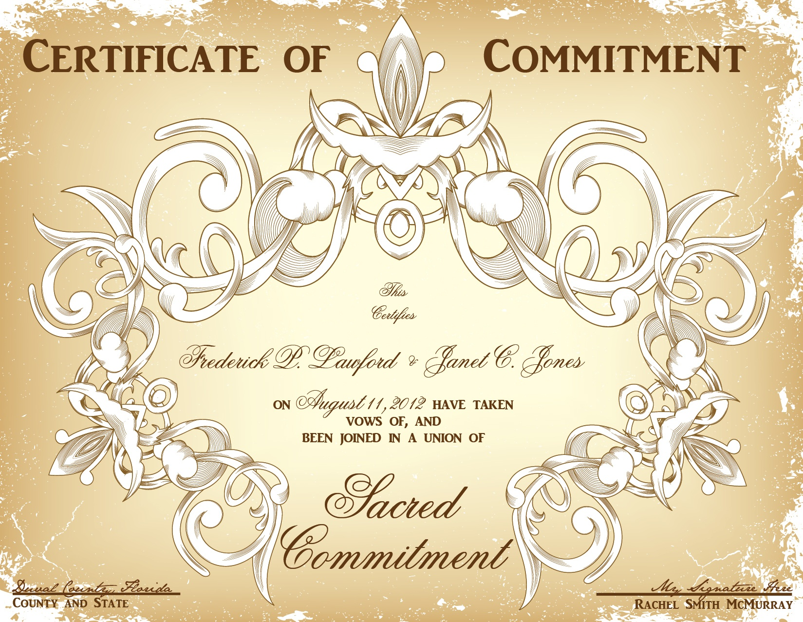 Commitment Ceremony Certificate Design Choices-That Wedding Lady - Commitment Certificate Free Printable