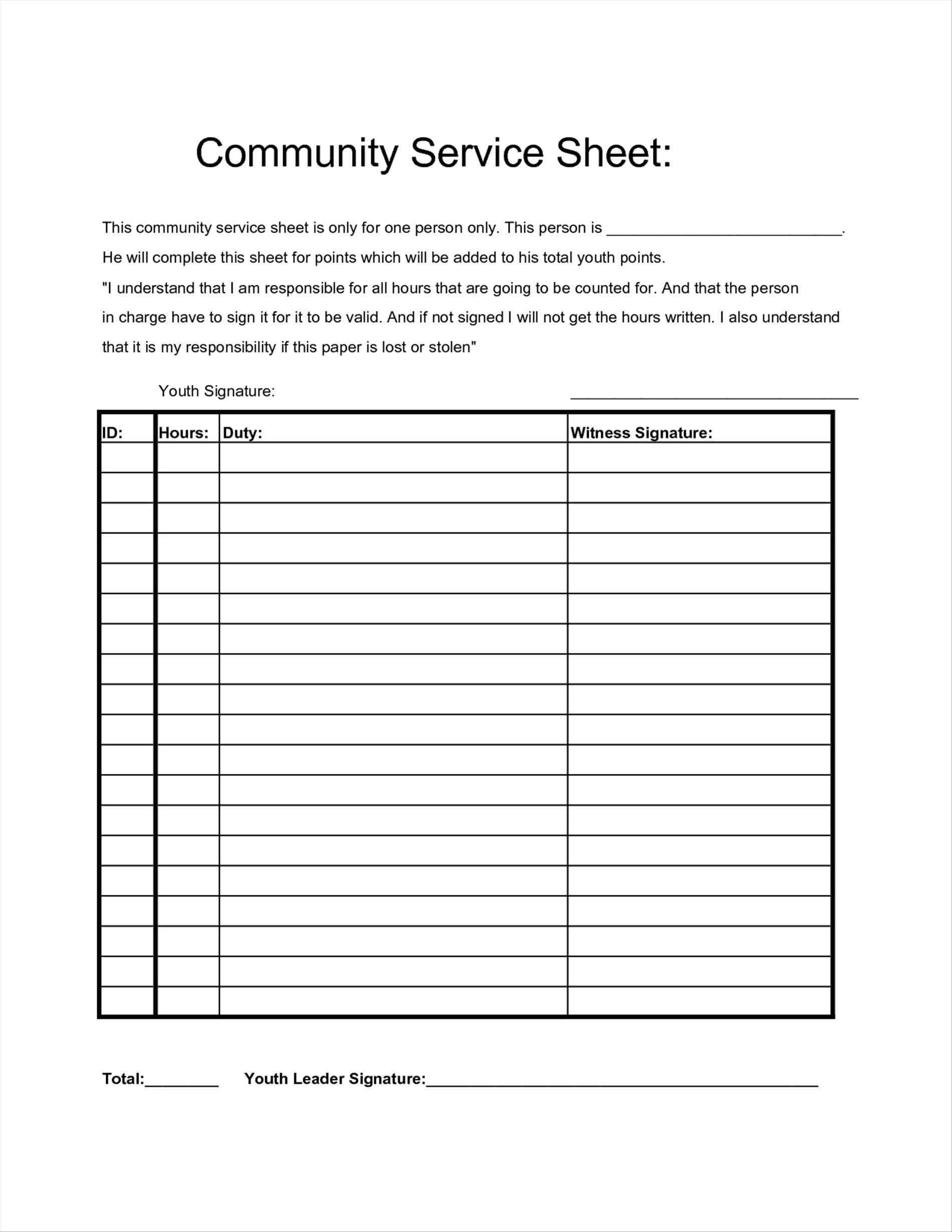 Community Service Timesheet – New-Top-Directory - Free Printable Community Service Log Sheet