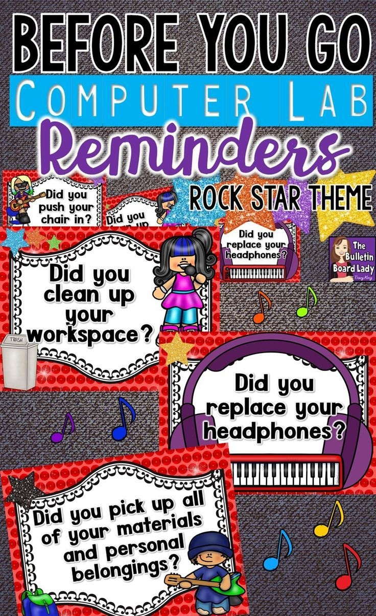 Computer Lab Reminders - Before You Go - Rock Star Theme | School - Free Printable Computer Lab Posters