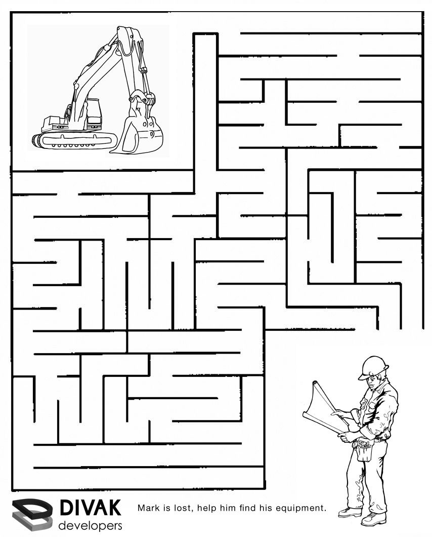Construction Maze | Summer Camp Construction | Mazes For Kids, Mazes - Free Printable Mazes For Kids