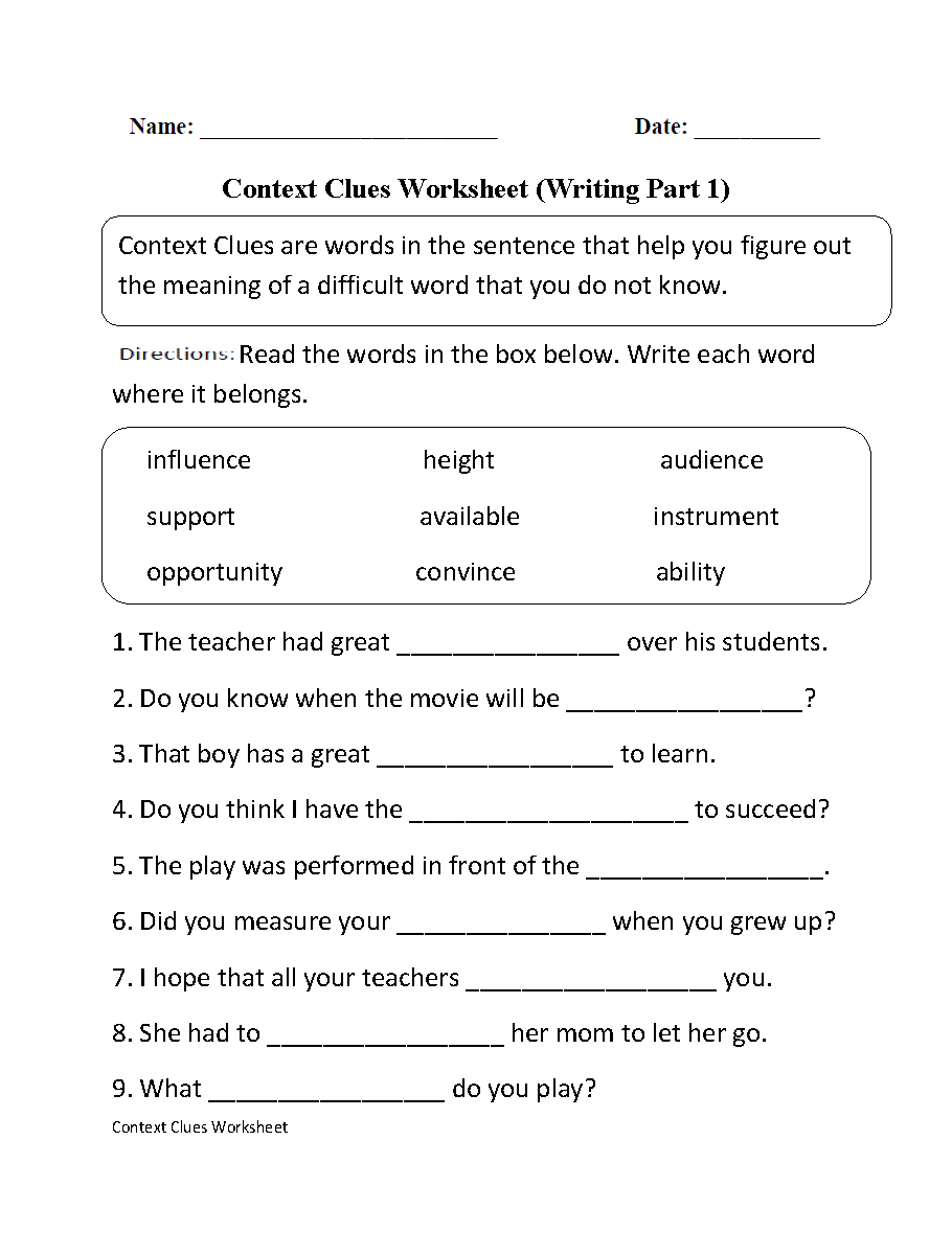 Context Clues Worksheet Writing Part 1 Intermediate--Free Worksheets - Free Printable 7Th Grade Vocabulary Worksheets