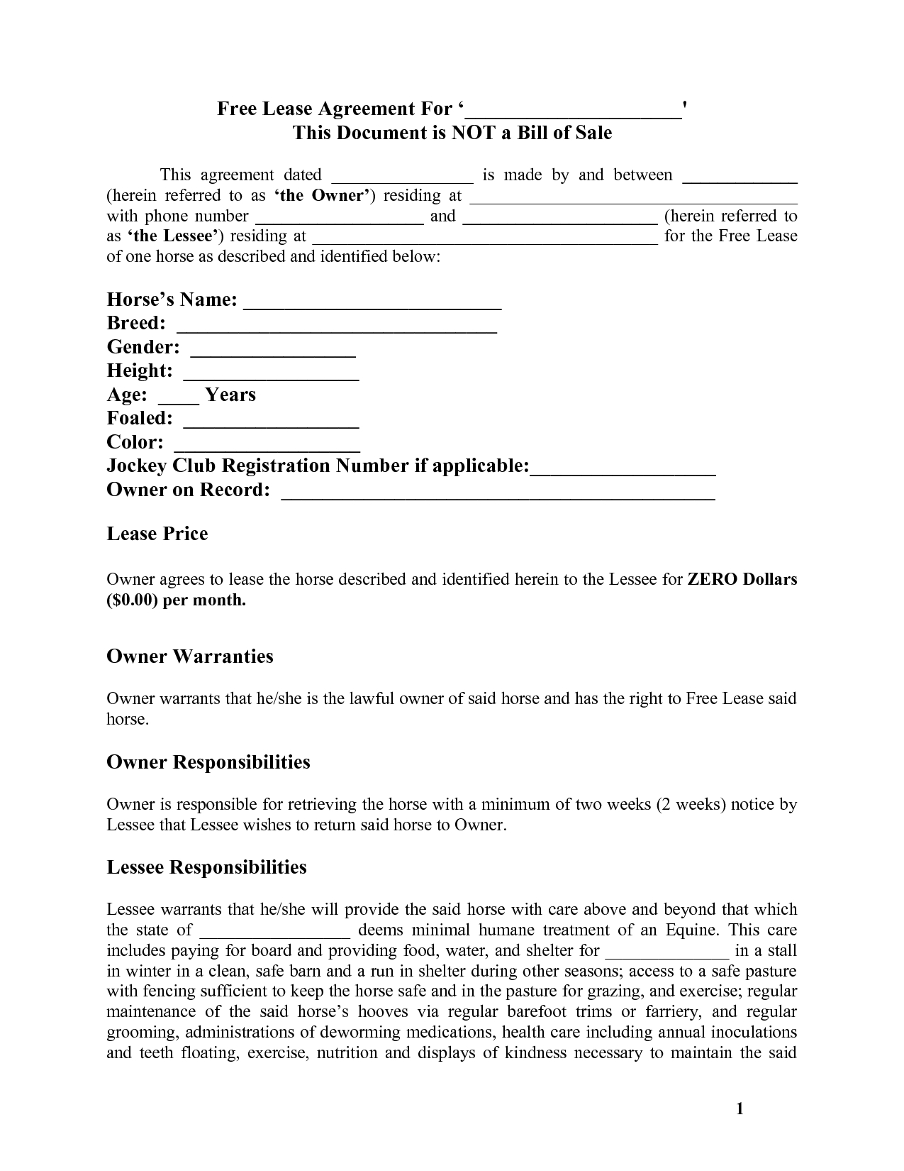 Contract For Rent To Own Home Forms - Free Printable Documents - Free Printable Documents