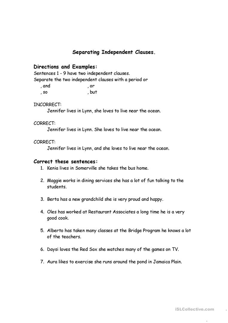 Correcting Run-On Sentences Worksheet - Free Esl Printable - Free Printable Sentence Correction Worksheets