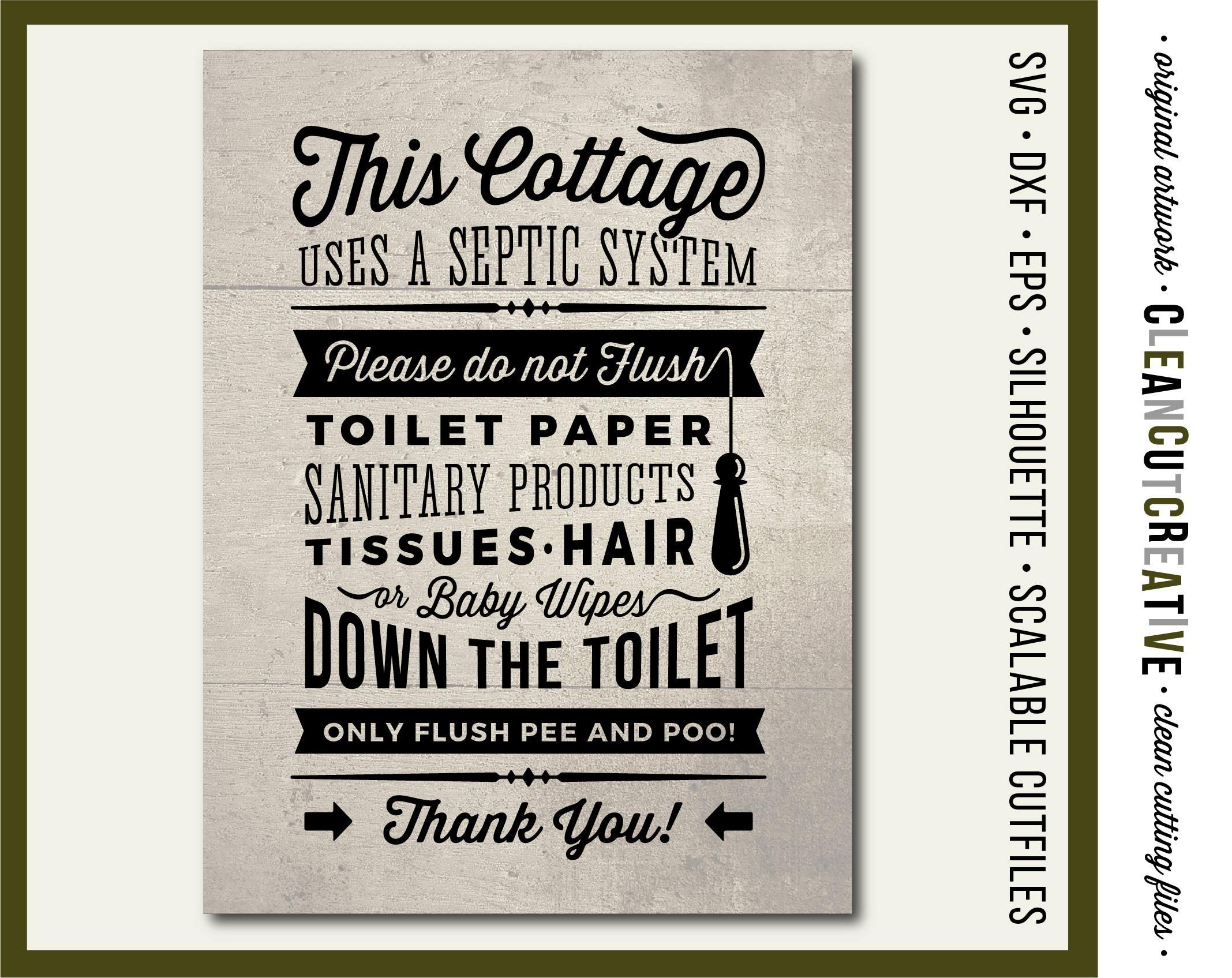 Cottage Svg Bathroom Sign Septic System Do Not Flush Svg   Etsy - Free Printable Do Not Flush Signs