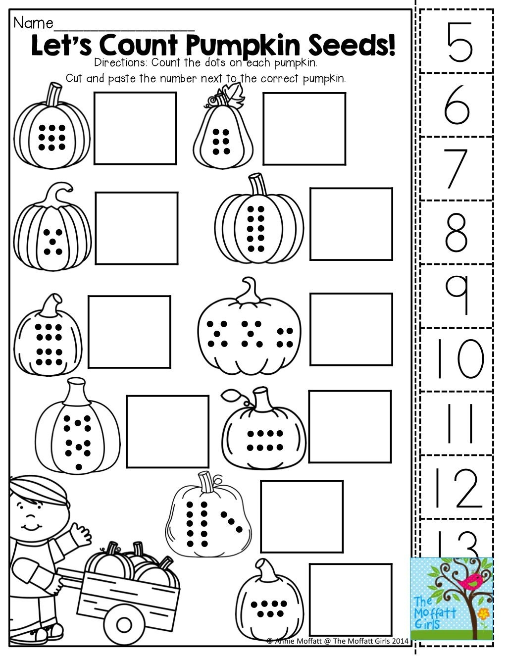 Count, Cut And Paste! Tons Of Fun Printables! | October | Preschool - Free Printable Kindergarten Worksheets Cut And Paste