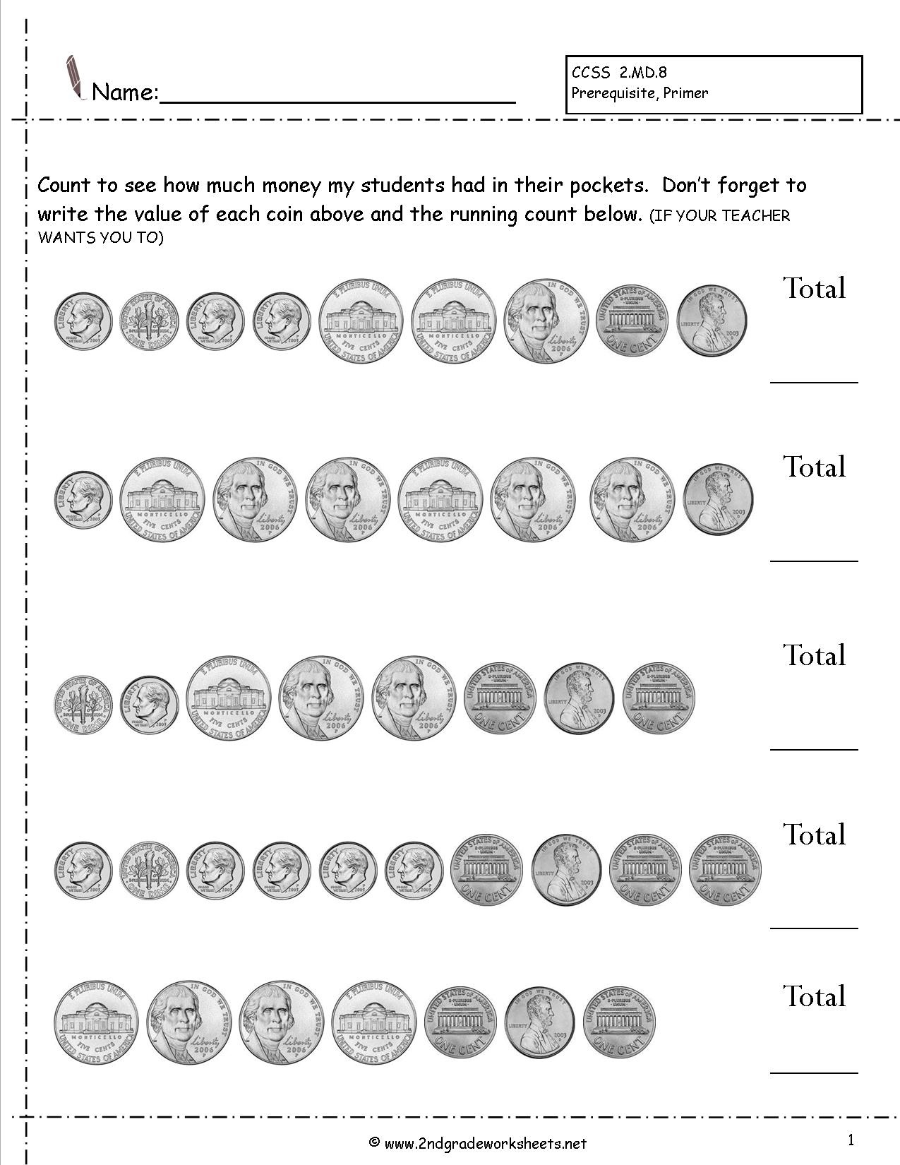 Counting Coins And Money Worksheets And Printouts - Free Printable Counting Money Worksheets For 2Nd Grade