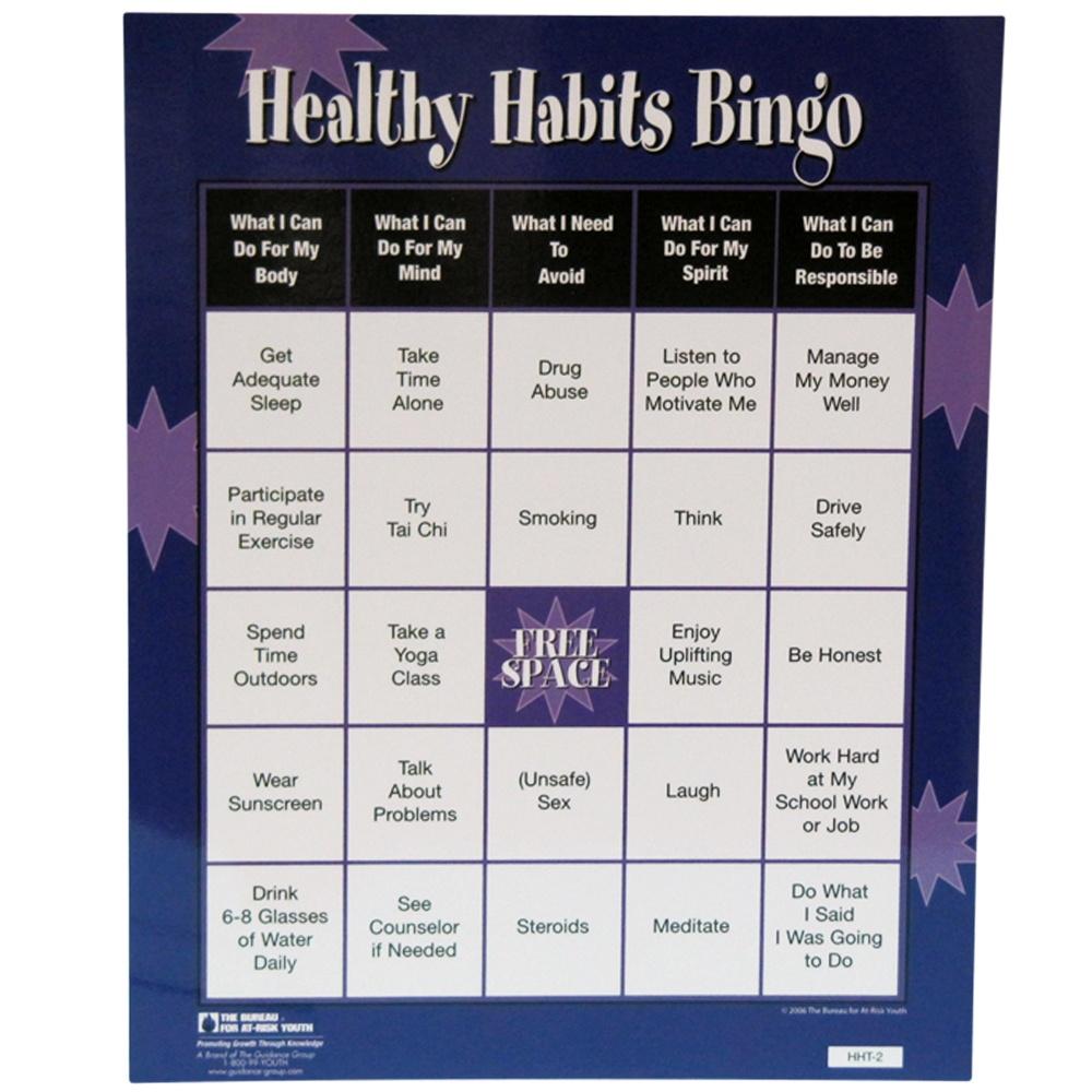 Courage To Change :: Topic :: Life Skills :: Healthy Habits Bingo Game - Free Printable Self Esteem Bingo