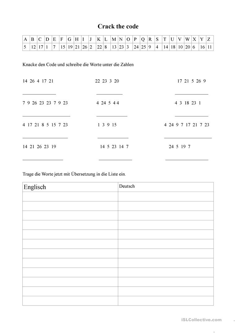 Crack The Code Worksheet - Free Esl Printable Worksheets Made - Crack The Code Worksheets Printable Free