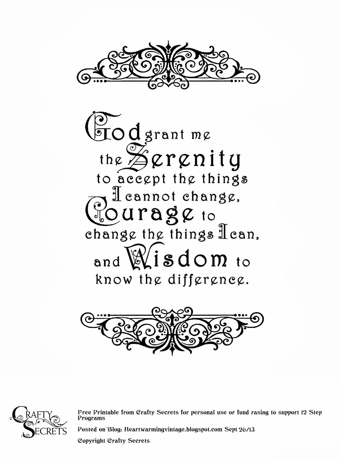 Crafty Secrets Heartwarming Vintage Ideas And Tips: Free Serenity - Free Printable Serenity Prayer
