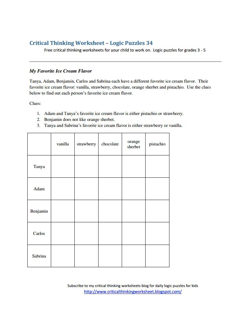 Critical Thinking Worksheet - Logic Puzzles 34.pdf - Logic Puzzles - Free Printable Critical Thinking Puzzles