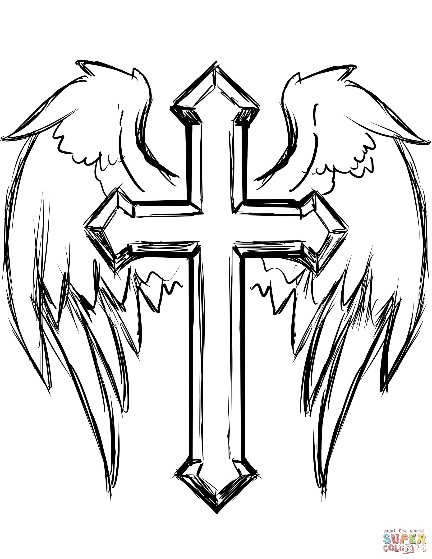 Cross Coloring Pages Fresh Cross With Wings Coloring Page | Coloring - Free Printable Cross Tattoo Designs