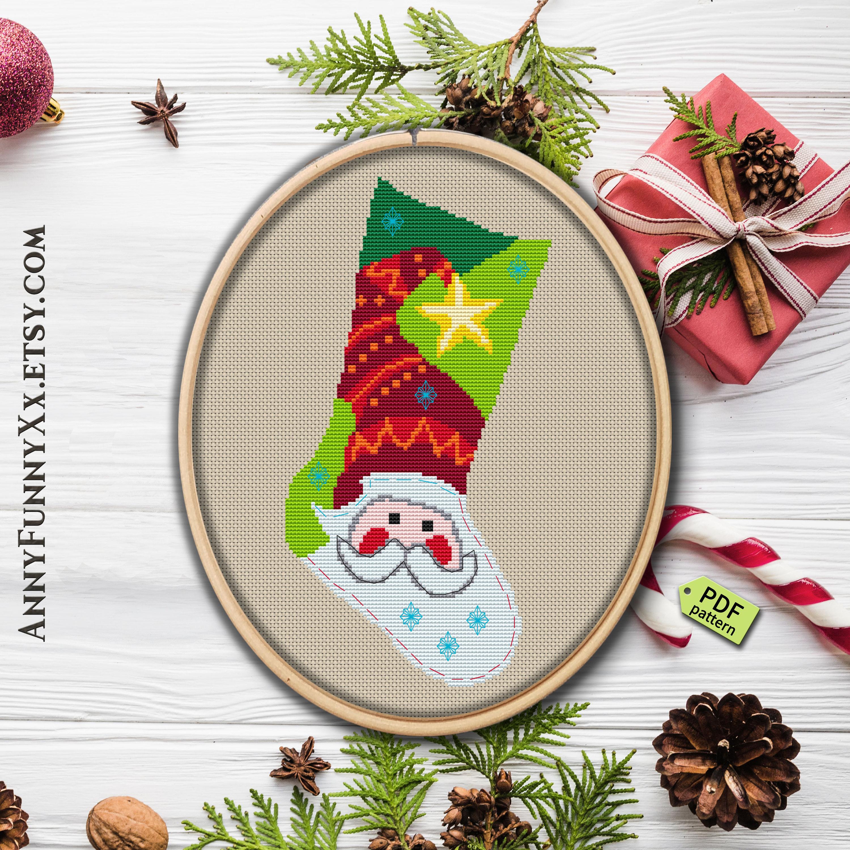 Cross Stitch Christmas Stocking Pattern Pdf Cross Stitch Christmas Ornament  Winter Embroidery Patterns - Free Printable Cross Stitch Christmas Stocking Patterns