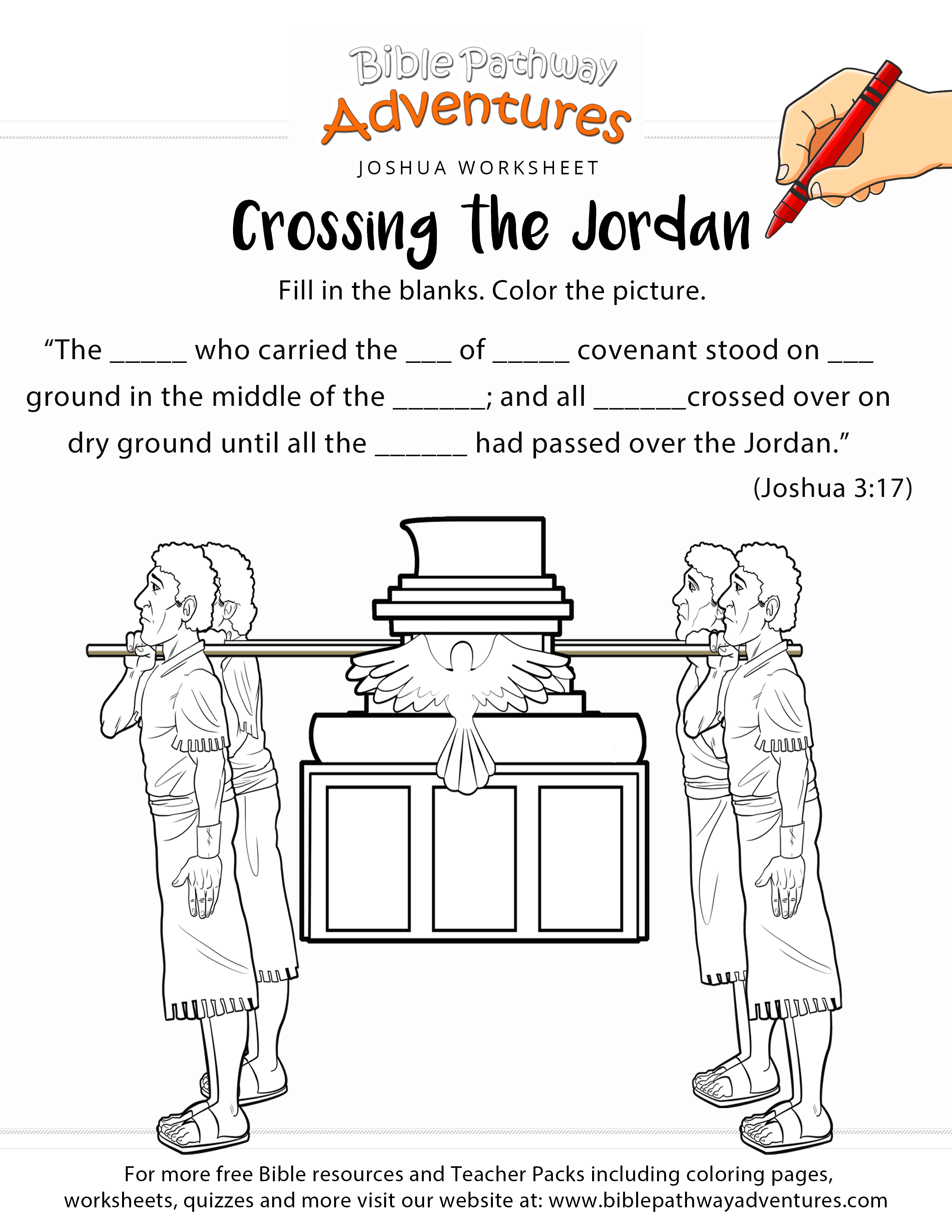 Crossing The Jordan Bible Worksheet & Coloring Page | Sunday School - Free Printable Children's Bible Lessons Worksheets