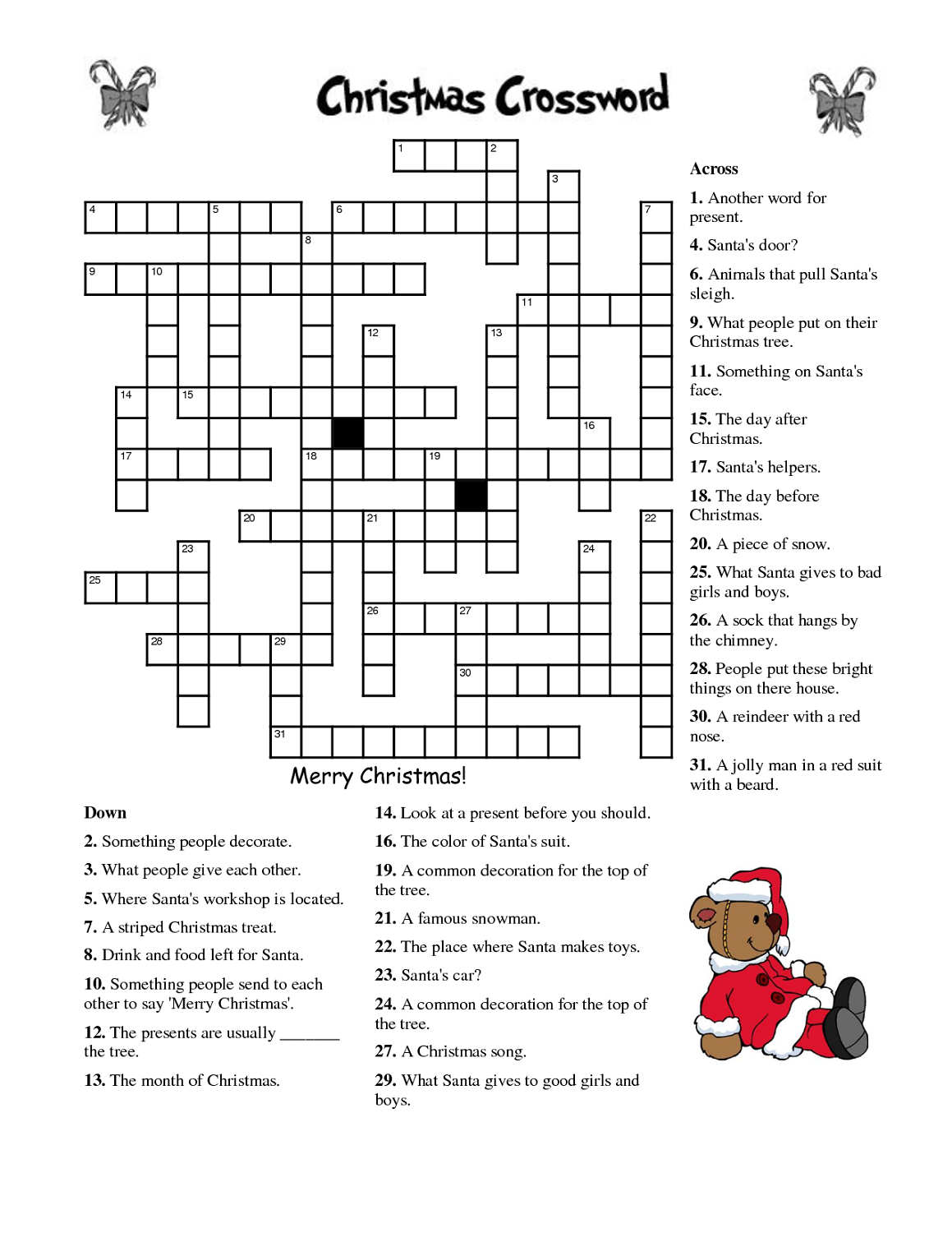 Crosswords For Kids Christmas   K5 Worksheets   Christmas Activity - Free Printable Christmas Crossword Puzzles For Adults