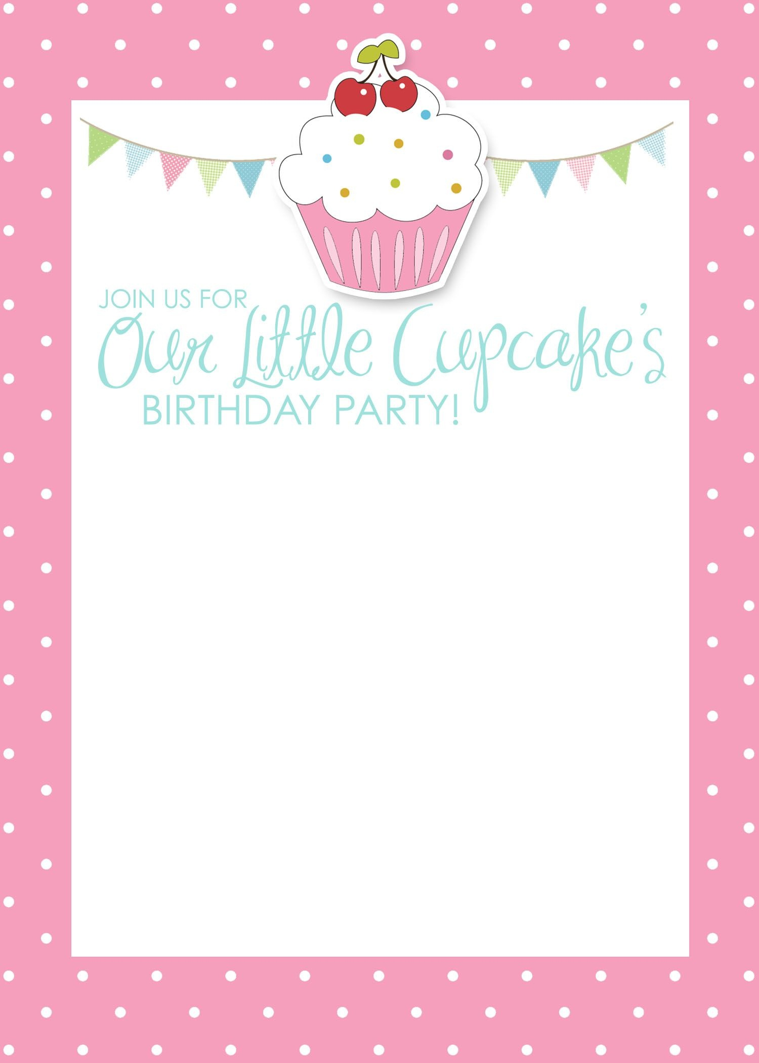 Cupcake Birthday Party With Free Printables | Birthday | Free - Free Printable Polka Dot Birthday Party Invitations