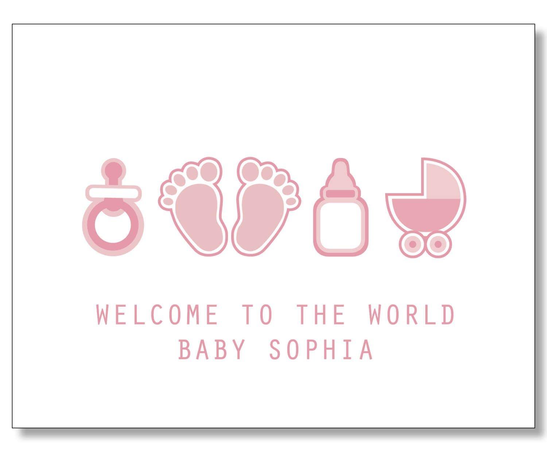 Custom Baby Girl Card. Custom Baby Name Card. New Mom Card - Congratulations On Your Baby Girl Free Printable Cards