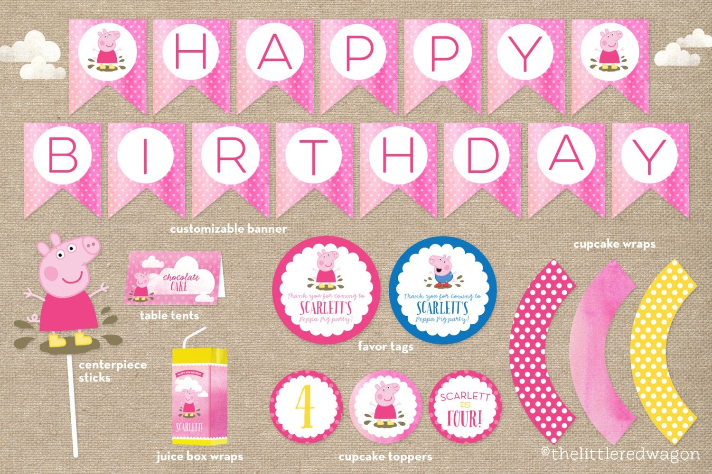 Custom Peppa Pig Birthday Party Printables / Banner / Cupcake   Etsy - Peppa Pig Birthday Banner Printable Free