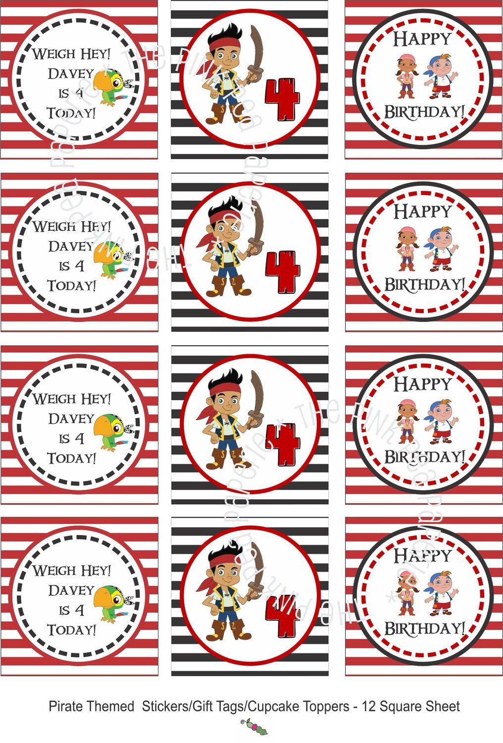 Custom Printable Jake And The Neverland Pirates Stickers Or Gift - Free Printable Jake And The Neverland Pirates Cupcake Toppers