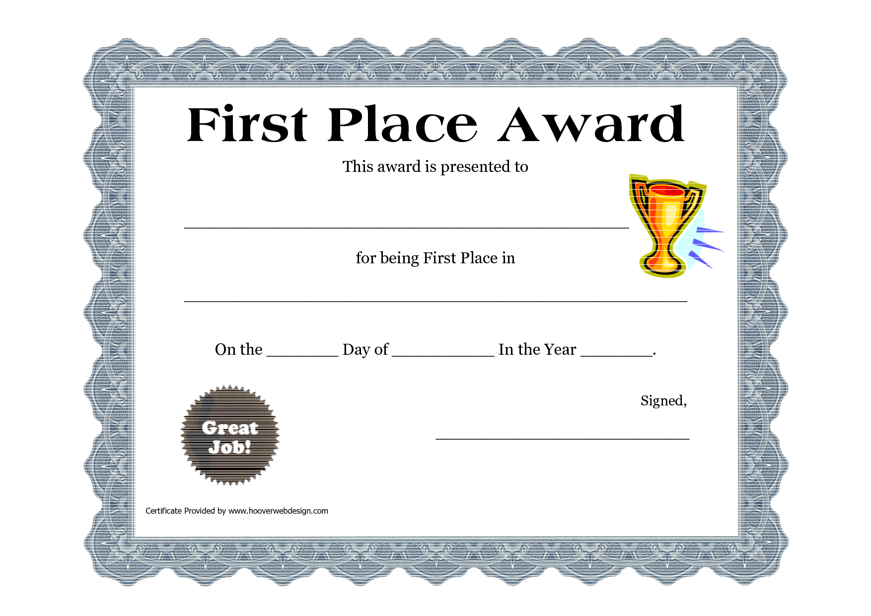 Customizable Printable Certificates | First Place Award Printable - Free Printable Halloween Award Certificates
