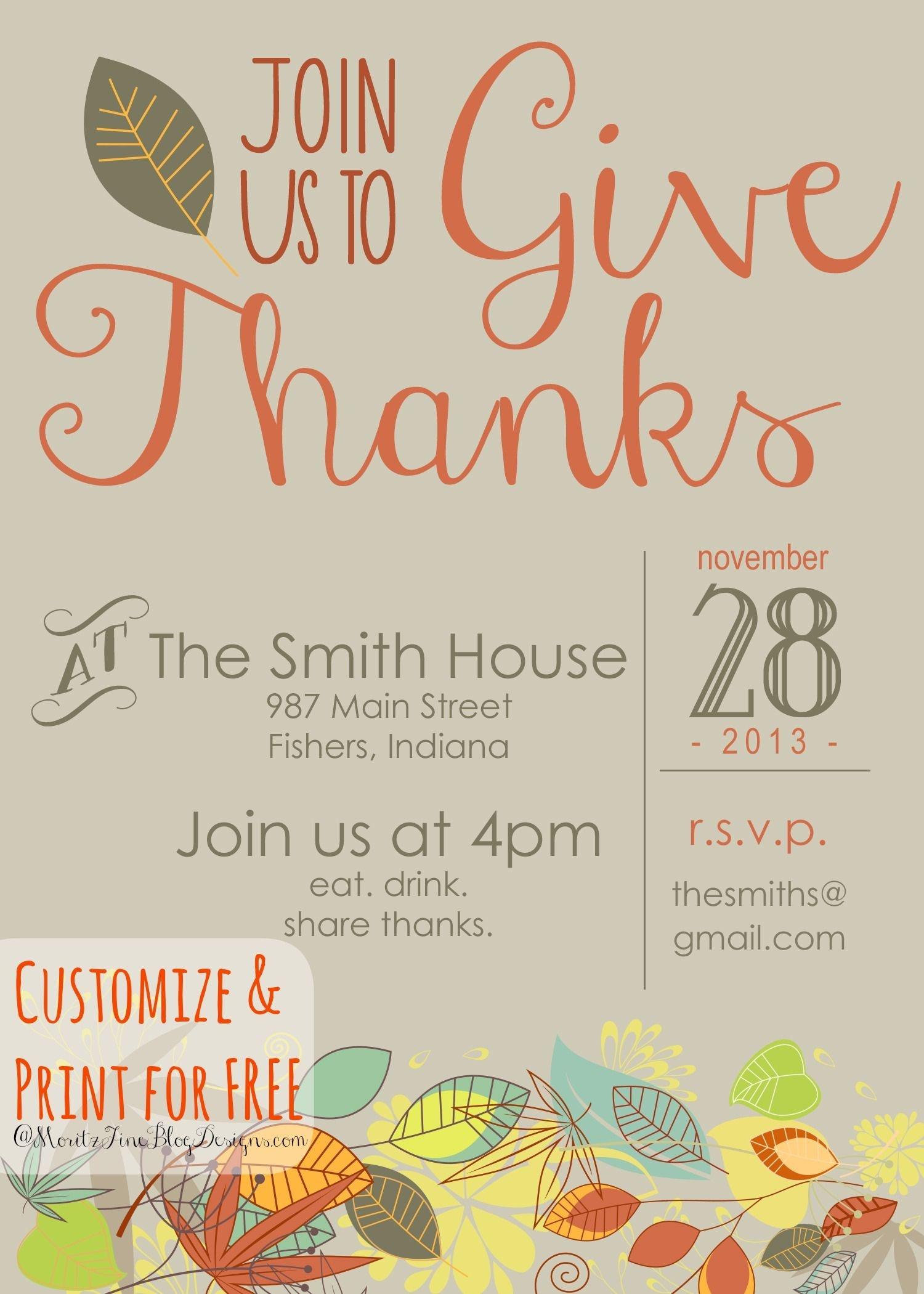 Customizable Thanksgiving Invitation   Recipe & Holiday Favorites - Free Printable Thanksgiving Invitation Templates