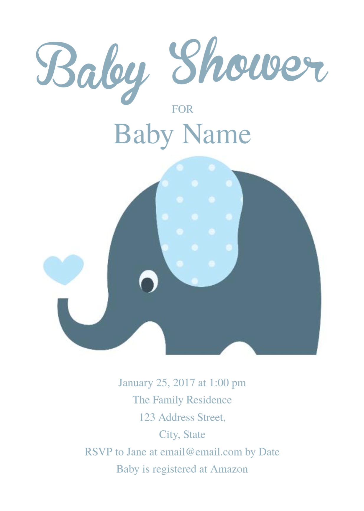Cute Elephant Baby Shower Invitation Template | Free Invitation - Free Baby Shower Invitation Maker Online Printable