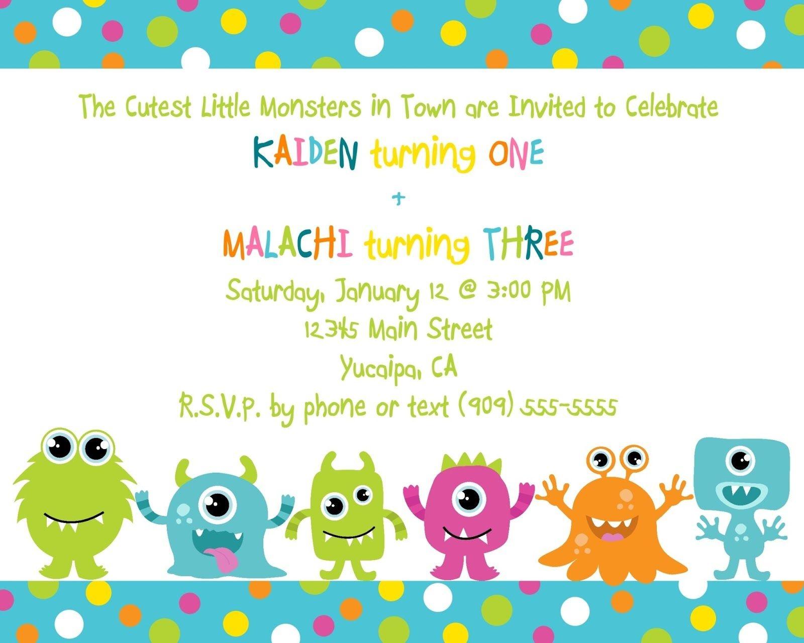 Cute Little Monster Birthday Invitation Printable | Free - Free Printable Monsters Inc Birthday Invitations