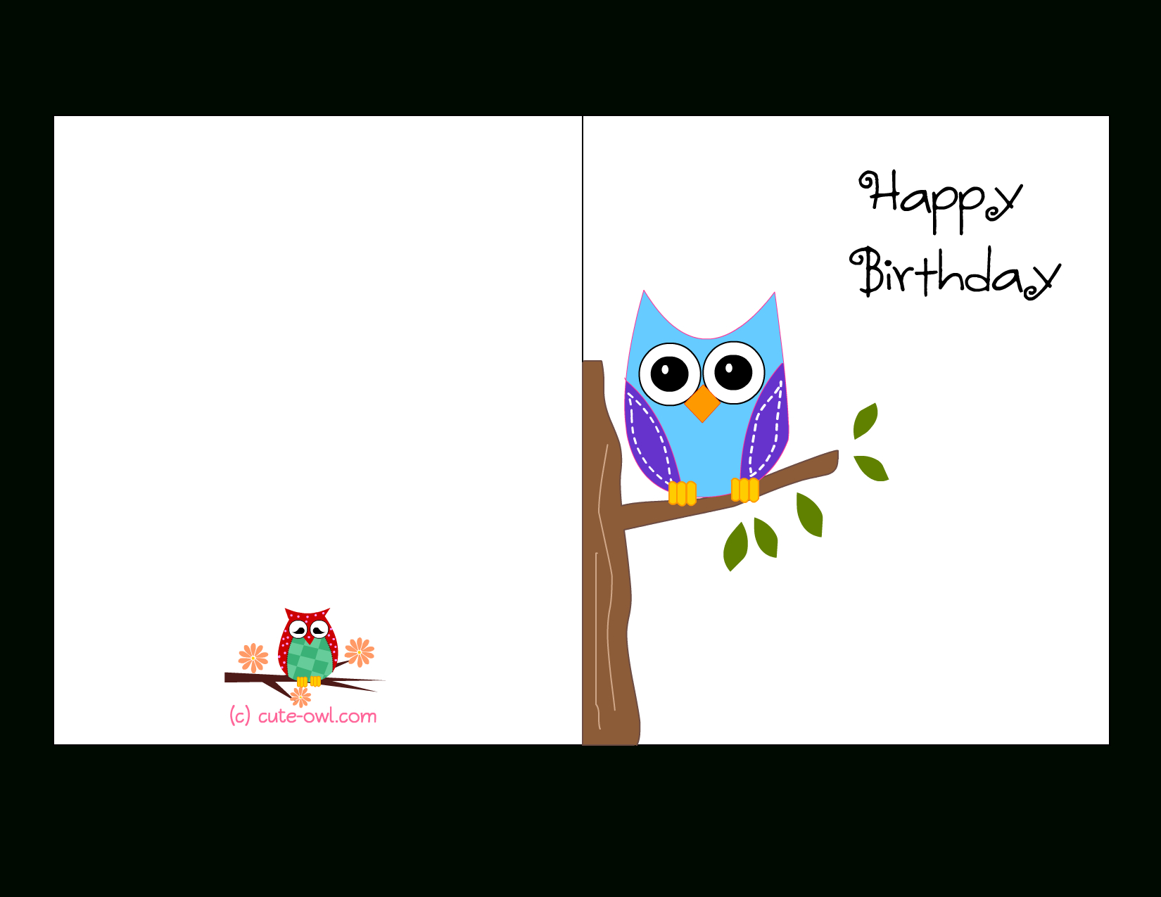 Cute Owl Sitting On A Branch Happy Birthday Card | Favorite - Free Online Funny Birthday Cards Printable