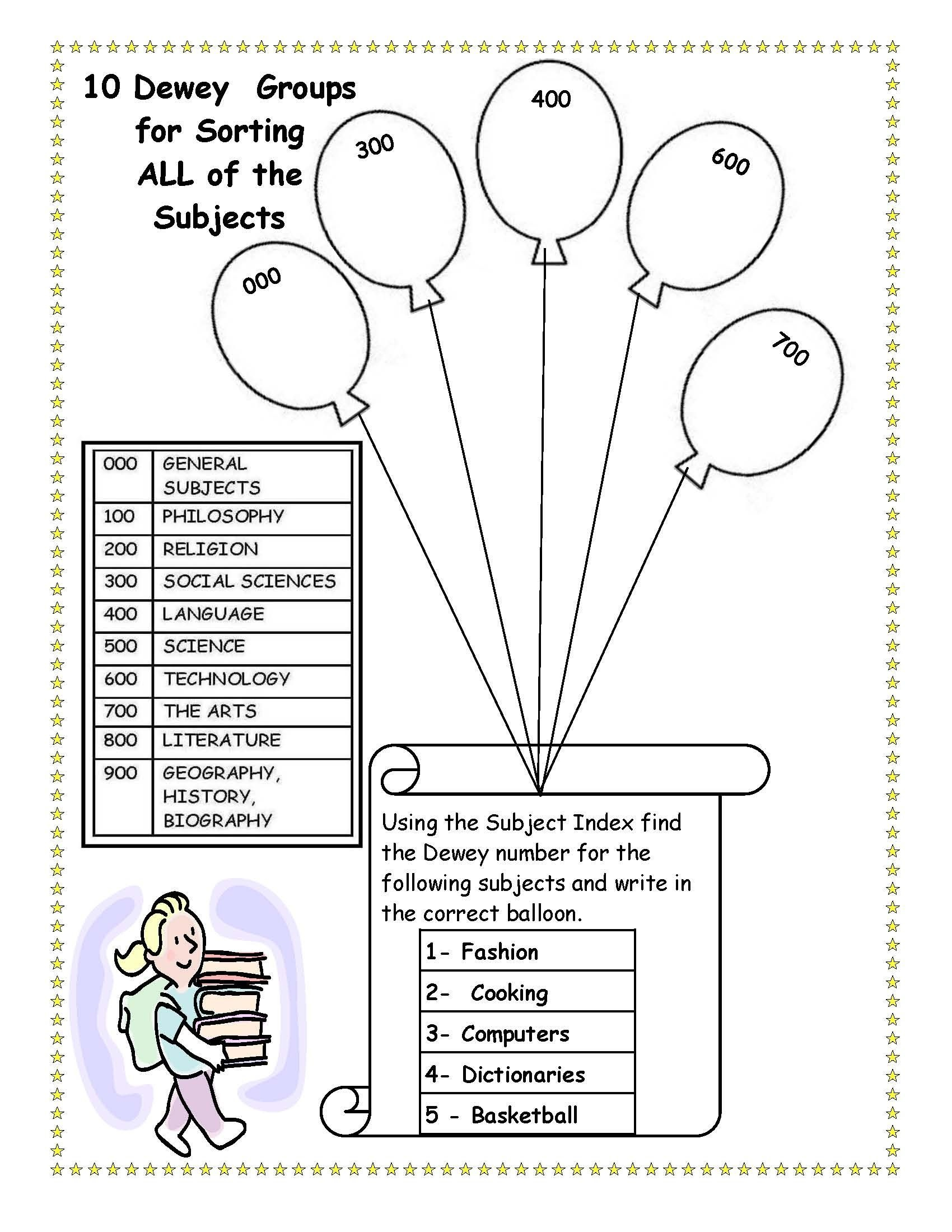 Cute, To Bad I Killed Dewey. Library Skills Worksheet. | Cool Ideas - Free Printable Library Skills Worksheets