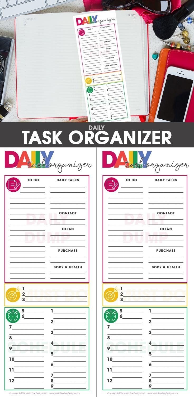 Daily Task Planning Organizer   Organize & Tidy! Spark Joy!   Daily - Free Printable Task Organizer