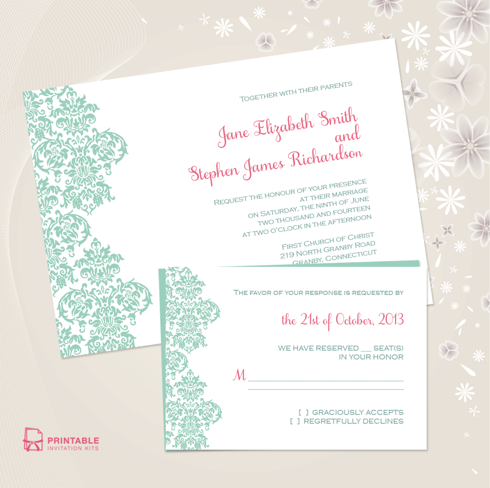 Damask Border Invitation And Rsvp Set ← Wedding Invitation - Free Printable Rsvp