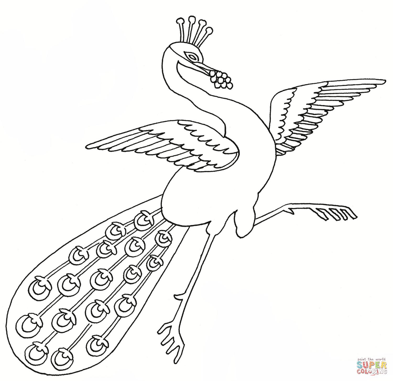 Dancing Peacock Coloring Page | Free Printable Coloring Pages - Free Printable Peacock Pictures