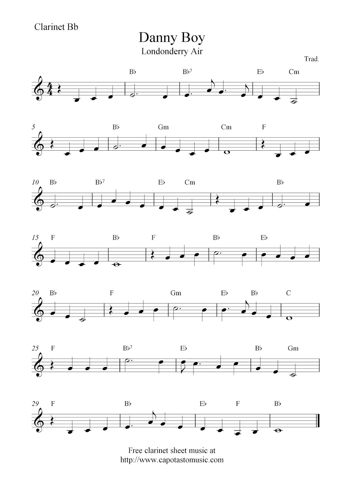 Danny Boy (Londonderry Air), Free Clarinet Sheet Music Notes - Free Sheet Music For Clarinet Printable