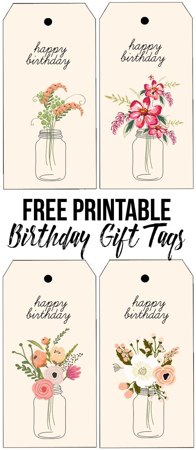 Darling (And Free) Printable Birthday Tags With Beautiful Florals - Free Printable Birthday Tags