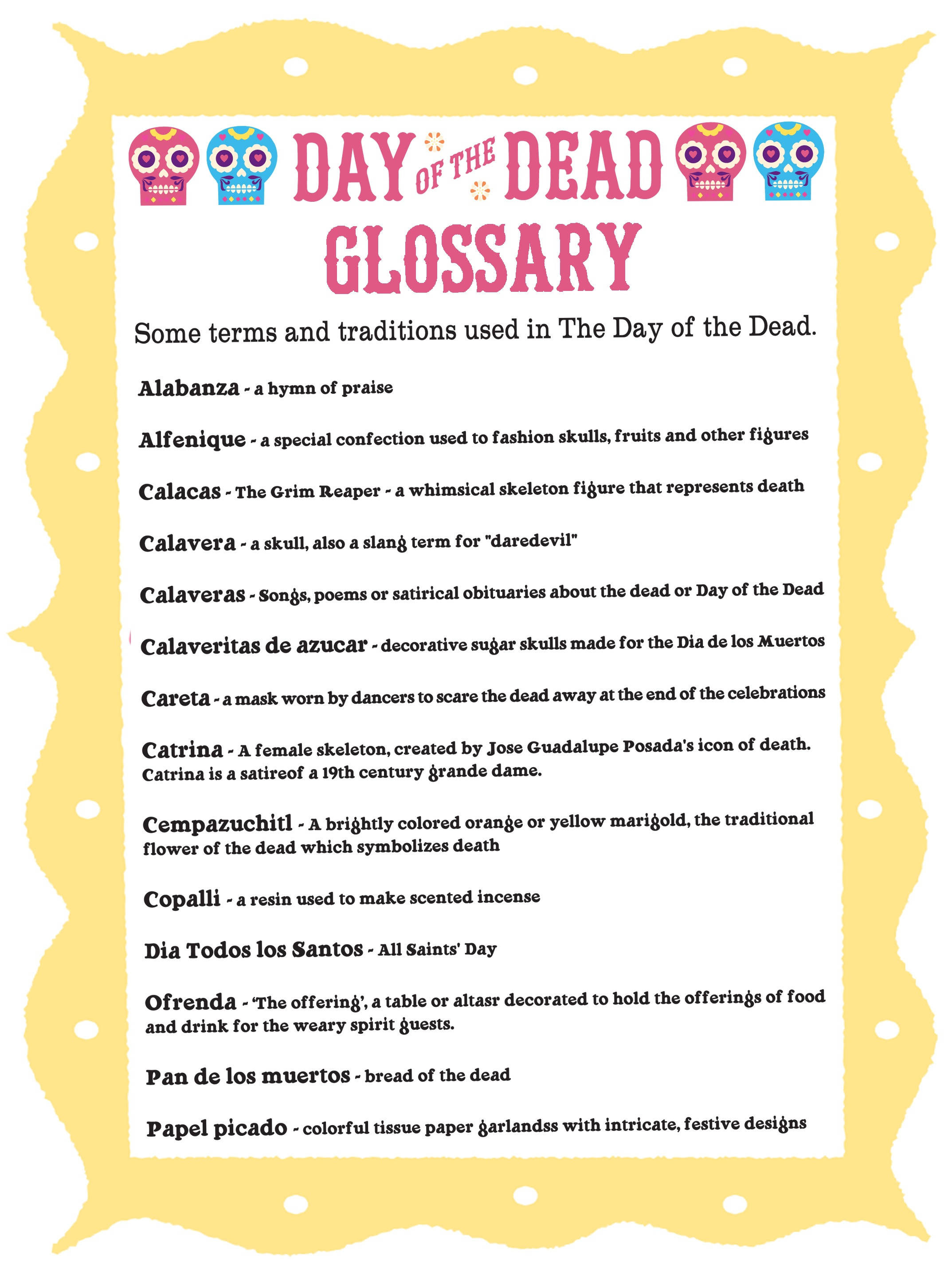 Day Of The Dead Glossary. Dia De Los Muertos Terms + Traditions! - Free Printable Day Of The Dead Worksheets