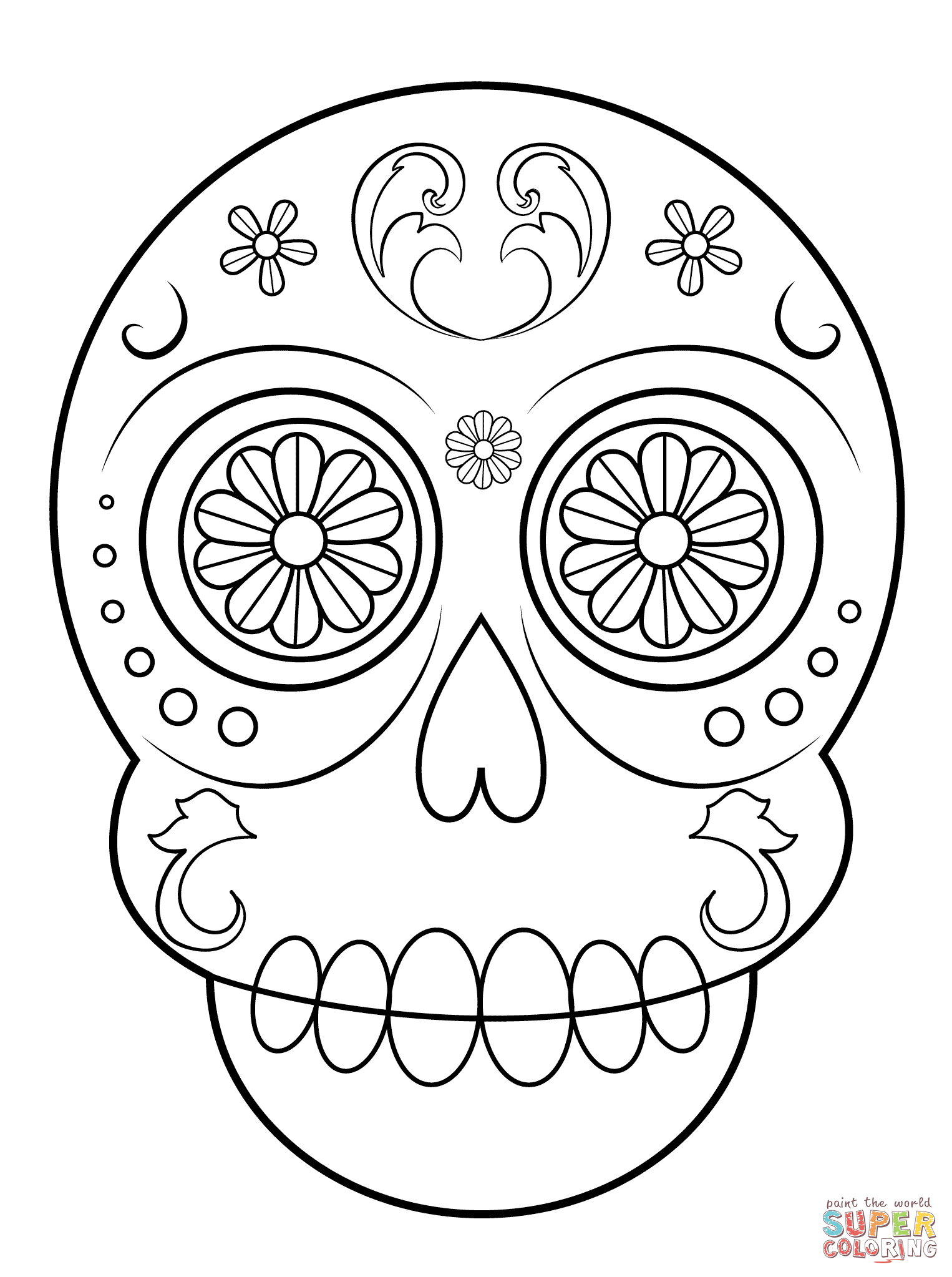 Day Of The Dead Sugar Skull Coloring Page | Free Printable Coloring - Free Printable Sugar Skull Day Of The Dead Mask