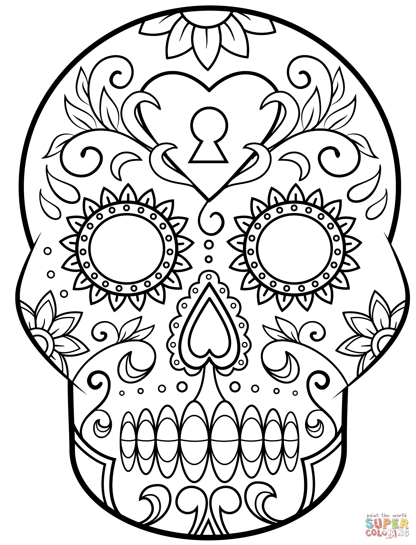Day Of The Dead Sugar Skull Coloring Page | Free Printable - Free Printable Sugar Skull Day Of The Dead Mask