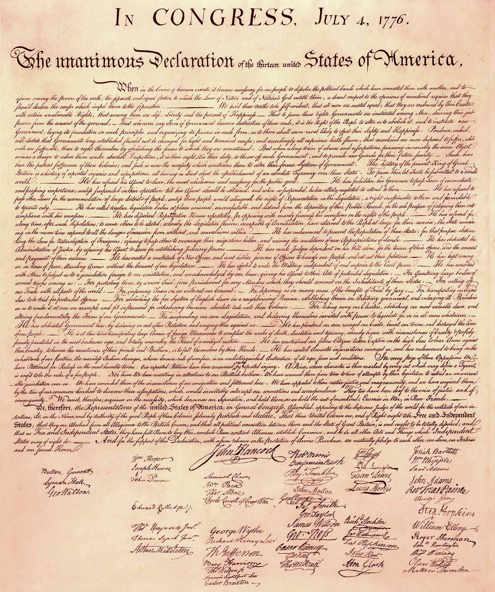 Declaration Of Independence High Resolution Picture - Free Printable Copy Of The Declaration Of Independence