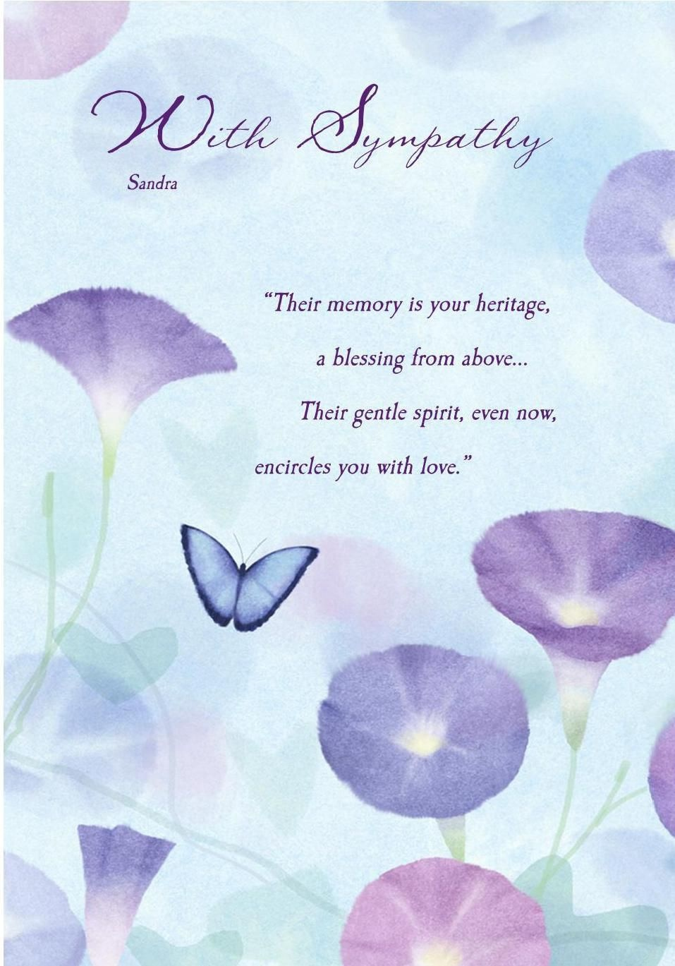 Deepest Sympathy Messages   Sympathy Card Butterfly Sympathy Card - Free Printable Sympathy Verses