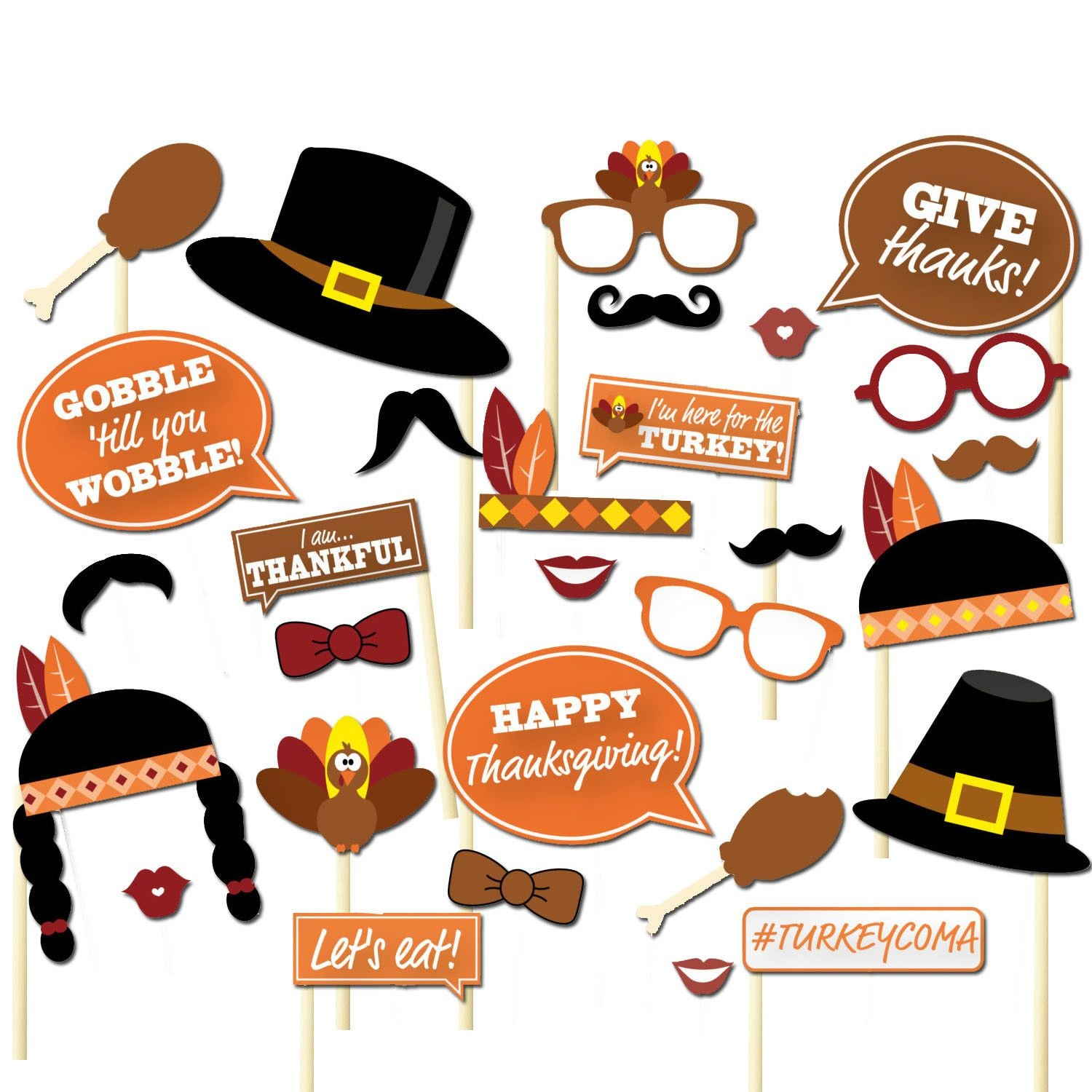 Details About 29Pcs Thanksgiving Day Party Supplies Decorations - Free Printable Thanksgiving Photo Props