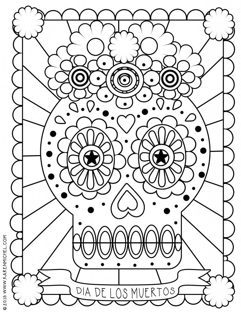 Dia De Los Muertos Coloring Page | Printable Coloring Pages | Doodle - Free Printable Day Of The Dead Worksheets