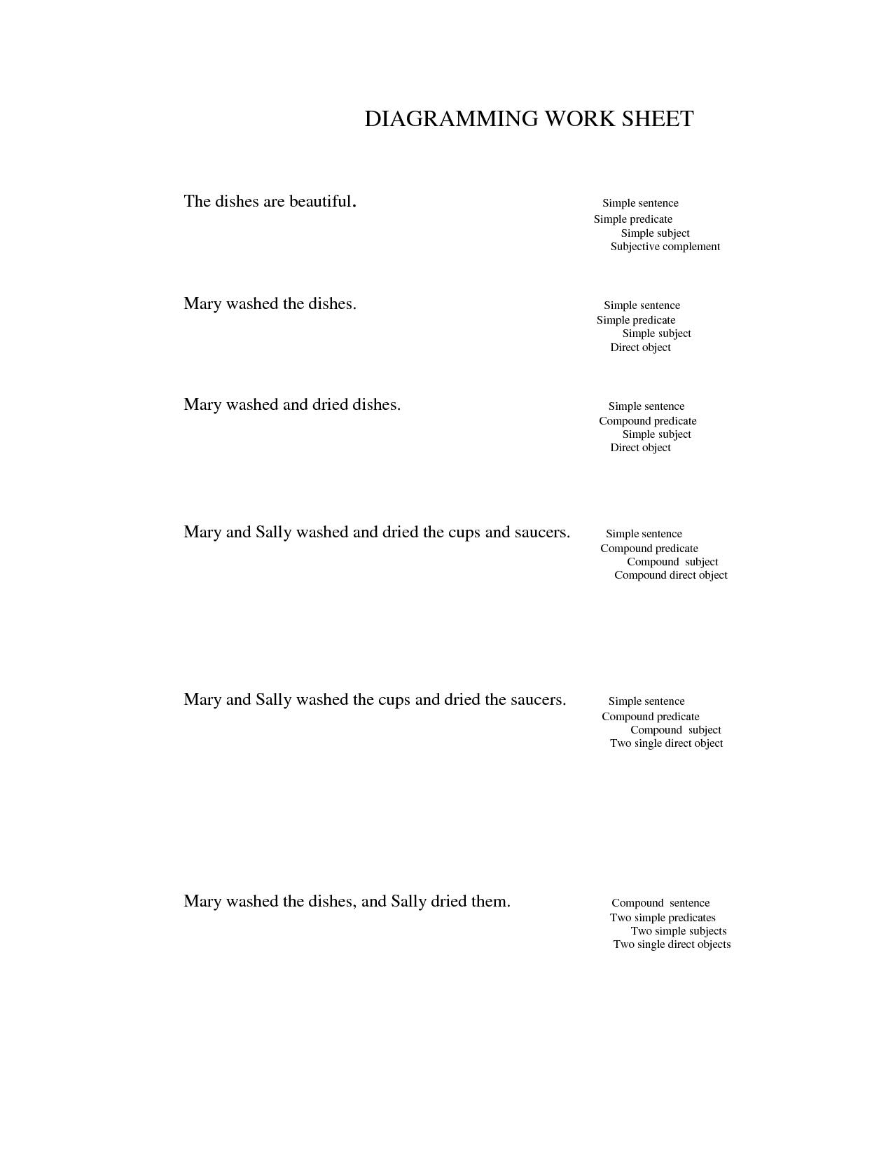 Diagramming Sentences Practice Worksheets | Free Worksheet - Free Printable Sentence Diagramming Worksheets